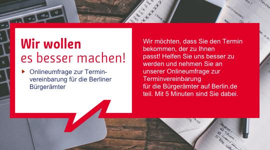 Link zu: Online-Umfrage zur Terminvereinbarung für die Berliner Bürgerämter